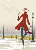 冬の公園で鳥たちと遊ぶ女性 02674000017| 写真素材・ストックフォト・画像・イラスト素材|アマナイメージズ