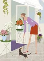 春の花屋の前で犬の散歩をしながら花を愛でる女性 02674000018| 写真素材・ストックフォト・画像・イラスト素材|アマナイメージズ