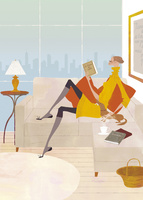 昼下がりにソファで読書をする女性 02674000020| 写真素材・ストックフォト・画像・イラスト素材|アマナイメージズ