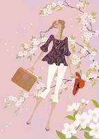 満開の桜の中で散歩をする女性 02674000022| 写真素材・ストックフォト・画像・イラスト素材|アマナイメージズ