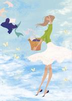 初夏にカゴに入った洗濯物を持つ女性 02674000023| 写真素材・ストックフォト・画像・イラスト素材|アマナイメージズ