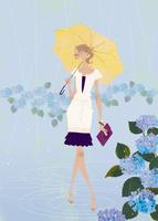 雨の中、紫陽花を楽しむ女性 02674000024| 写真素材・ストックフォト・画像・イラスト素材|アマナイメージズ