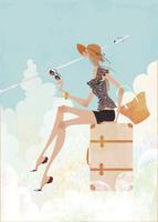 トランクの上に座る女性 02674000025| 写真素材・ストックフォト・画像・イラスト素材|アマナイメージズ