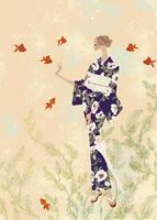 浴衣姿で金魚と戯れる女性 02674000026| 写真素材・ストックフォト・画像・イラスト素材|アマナイメージズ
