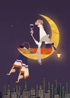 三日月に座り、ワインを楽しむ女性 02674000028| 写真素材・ストックフォト・画像・イラスト素材|アマナイメージズ