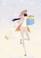 雪の中プレゼントを持って走る女性 02674000029| 写真素材・ストックフォト・画像・イラスト素材|アマナイメージズ