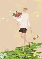 春の緑の中で花束を持つ女性 02674000031| 写真素材・ストックフォト・画像・イラスト素材|アマナイメージズ