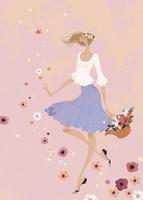花々が舞う中、花冠をつけて浮遊する女性 02674000032| 写真素材・ストックフォト・画像・イラスト素材|アマナイメージズ