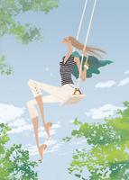 初夏の青空の下でブランコを楽しむ女性 02674000033| 写真素材・ストックフォト・画像・イラスト素材|アマナイメージズ