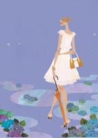 雨の後の紫陽花の中で散歩をする女性 02674000034| 写真素材・ストックフォト・画像・イラスト素材|アマナイメージズ