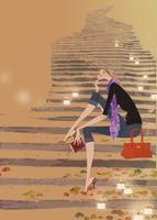石段に座り本を片手に座る女性 02674000036| 写真素材・ストックフォト・画像・イラスト素材|アマナイメージズ