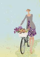 カゴに花束を乗せた自転車を押す女性 02674000040| 写真素材・ストックフォト・画像・イラスト素材|アマナイメージズ