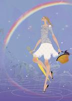 雨の後の虹を散歩をしながら楽しむ女性 02674000043| 写真素材・ストックフォト・画像・イラスト素材|アマナイメージズ