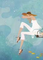 海の中で空想する女性 02674000044| 写真素材・ストックフォト・画像・イラスト素材|アマナイメージズ