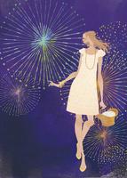 花火を楽しむワンピース姿の女性 02674000045| 写真素材・ストックフォト・画像・イラスト素材|アマナイメージズ