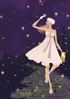 クリスマスパーティに向かうドレス姿の女性 02674000048| 写真素材・ストックフォト・画像・イラスト素材|アマナイメージズ