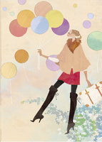 風船を持ちながら浮遊する女性 02674000049| 写真素材・ストックフォト・画像・イラスト素材|アマナイメージズ