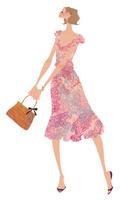 花柄のワンピースを着て嬉しそうに立つ女性 02674000051| 写真素材・ストックフォト・画像・イラスト素材|アマナイメージズ