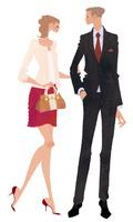 OL風の女性とサラリーマン風の男性とのカップル 02674000052| 写真素材・ストックフォト・画像・イラスト素材|アマナイメージズ