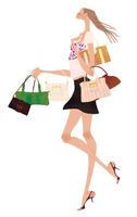 沢山のバッグを持ち嬉しそうに歩く女性 02674000055| 写真素材・ストックフォト・画像・イラスト素材|アマナイメージズ