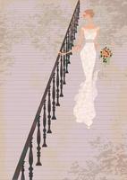 屋外の階段を降りるウェディングドレス姿の女性 02674000056| 写真素材・ストックフォト・画像・イラスト素材|アマナイメージズ