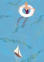 綺麗な池に入り浮き輪で水遊びをする女性 02674000058| 写真素材・ストックフォト・画像・イラスト素材|アマナイメージズ