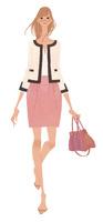 OL風のファッションに身を包み歩く女性 02674000059| 写真素材・ストックフォト・画像・イラスト素材|アマナイメージズ