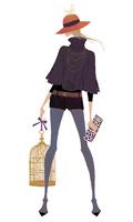 鳥かごをとクラッチバッグを持ち立つポーズを取る女性 02674000062| 写真素材・ストックフォト・画像・イラスト素材|アマナイメージズ