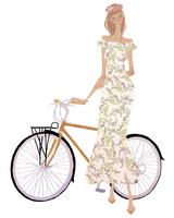 自転車に手をかける花柄のワンピースを着た女性 02674000063| 写真素材・ストックフォト・画像・イラスト素材|アマナイメージズ