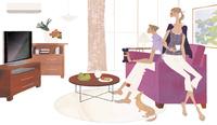 リビングのソファに座り犬と一緒にくつろぐ女性と男性 02674000064| 写真素材・ストックフォト・画像・イラスト素材|アマナイメージズ