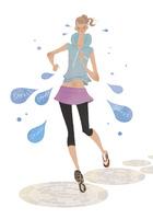 気持ちよく汗をかいてデトックスしながらランニングする女性 02674000074| 写真素材・ストックフォト・画像・イラスト素材|アマナイメージズ