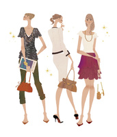 色々なファッションを着こなしている女性たち 02674000075| 写真素材・ストックフォト・画像・イラスト素材|アマナイメージズ