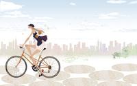 街中を楽しそうにおしゃれな自転車をこぐ女性 02674000083| 写真素材・ストックフォト・画像・イラスト素材|アマナイメージズ
