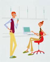 オフィスの中の男性と女性 20037001262  写真素材・ストックフォト・画像・イラスト素材 アマナイメージズ