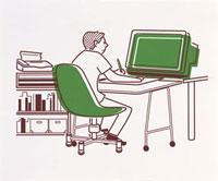 パソコンを使って仕事をする男性 20037001565  写真素材・ストックフォト・画像・イラスト素材 アマナイメージズ