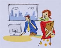 オフィスの女性と男性 20037001593  写真素材・ストックフォト・画像・イラスト素材 アマナイメージズ