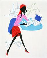 頬杖をつく女性とパソコン 20037001597  写真素材・ストックフォト・画像・イラスト素材 アマナイメージズ