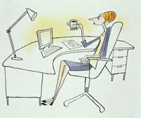 デスクでコーヒーを飲む女性 20037001604  写真素材・ストックフォト・画像・イラスト素材 アマナイメージズ