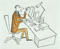 デスクで仕事をする男性 20037001606  写真素材・ストックフォト・画像・イラスト素材 アマナイメージズ