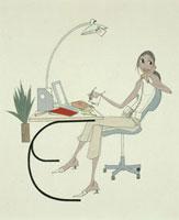 書斎で電話をする女性 20037001634  写真素材・ストックフォト・画像・イラスト素材 アマナイメージズ
