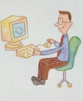 パソコンを使う男性 20037003930  写真素材・ストックフォト・画像・イラスト素材 アマナイメージズ