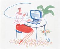 PCの前に座る女性 20037004462  写真素材・ストックフォト・画像・イラスト素材 アマナイメージズ