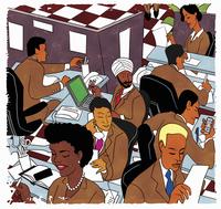 Busy multiethnic office workers 20039005798  写真素材・ストックフォト・画像・イラスト素材 アマナイメージズ