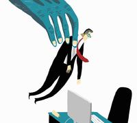 Hand lifting businessman into office desk and chair of new job 20039008112  写真素材・ストックフォト・画像・イラスト素材 アマナイメージズ