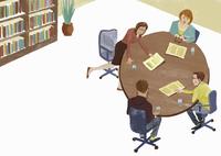 Business people discussing document in meeting 20039008266  写真素材・ストックフォト・画像・イラスト素材 アマナイメージズ
