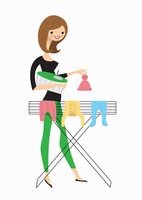 Woman hanging baby clothes on airer 20039008997| 写真素材・ストックフォト・画像・イラスト素材|アマナイメージズ