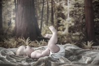 A baby boy with a washable nappy on in a wooded bedroom. 20089011491| 写真素材・ストックフォト・画像・イラスト素材|アマナイメージズ