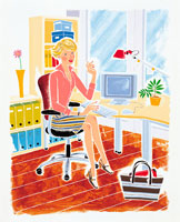 デスクで仕事をしている女性 イラスト 22276001831  写真素材・ストックフォト・画像・イラスト素材 アマナイメージズ